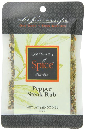 Colorado Spice Company, Beef, Poultry, Pork and Lamb Spice, Pepper Steak Rub 1.5-Ounce Packet (Pack of 12) by Colorado Spice