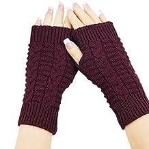 Lowpricenice Trendy Knitted Arm Fingerless Winter Gloves Unisex Soft Warm Mitten
