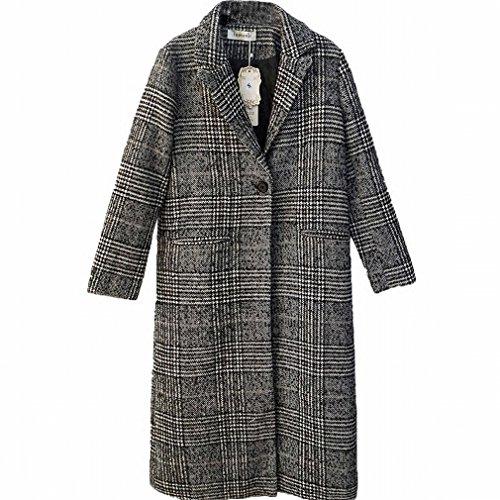 Woolen Lattice Coat Autumn Type Was Winter Long Section Cocoon of and Lattice color Coat Thin Women Thick 'S WYF Lattice Body qTafIIxw