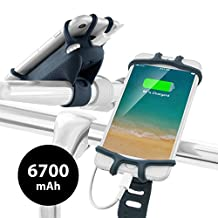 2-in-1 Bike Mount USB Portable Charger 6700mAh Power Bank, Bicycle Handlebar Cell Phone Holder for iPhone 8 7 6S Plus Samsung Galaxy S8 S7 Note 6, 4 to 6 inch Smartphone GPS Accessories