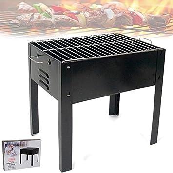 Bakaji barbacoa portátil con 4 patas Transmisión a carbón vegetal Carbón para carne carne pescado verduras