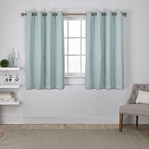 Exclusive Home Curtains Sateen Twill Weave Insulated Blackout Grommet Top Window Curtain Panel Pair, Seafoam, 52x63