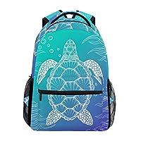 U LIFE Backpack School Bags Laptop Casual Bag for Boys Girls Kids Men Women Ocean Sea Aquatic Turtle Tortoise