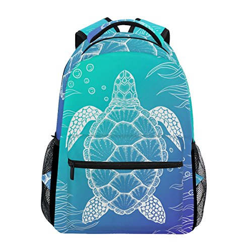 U LIFE Backpack School Bags Laptop Casual Bag for Boys Girls Kids Men Women Ocean Sea Aquatic Turtle Tortoise -