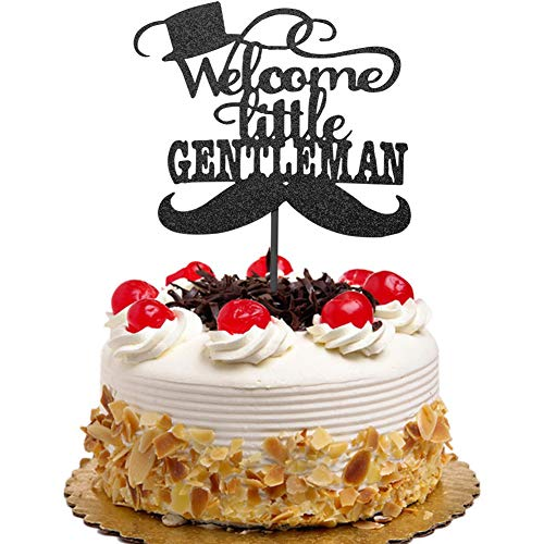 (Welcome Little Gentleman with Moustache and Top Hat Cake Topper for Boys Baby Shower Party Decorations Black)