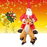 Inflatable Christmas Santa Costume Air Inflation Rid Me On Deer