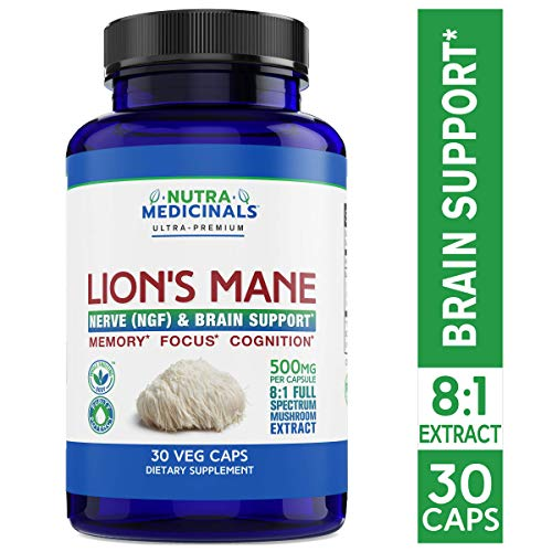 NutraMedicinals Lion s Mane Mushroom Capsules Nerve NGF Brain Support Natural Nootropic Supplement for Memory, Focus Cognition Non-GMO, Vegan, Organic 30 Caps, 8 1 Extract