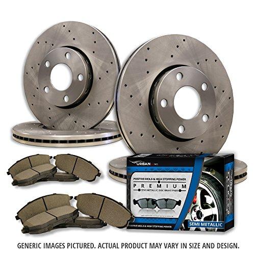 (F+R Full Kit)4 Cross Drill Disc Brake Rotors + 8 Semi-Met Pads(5lug)-Combo Brake Kit - Bmw 540i Brake Disc