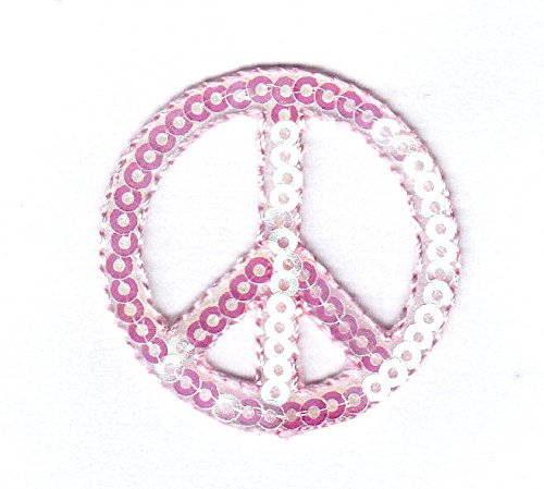 PEACE SIGN - PINK SEQUINS - PATRIOTIC - PEACE - Iron On Applique - Sequin Sign Peace
