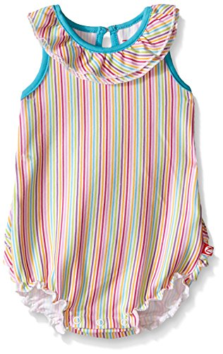 Zutano Baby Girls' Candy Stripe Ruffle Bubble, Rainbow, 6 - Day Com Rb