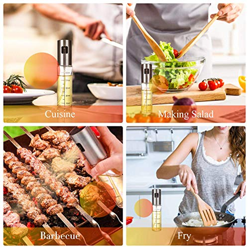 FANBO Kitchen Olive Oil Dispenser Bottle, Olive Oil Sprayer with Measuring Leak-Proof Stainless Steel Dispenser, Glass Oil Bottle with Brush and Funnel for BBQ/Kitchen/Salad, Barbecue Kit