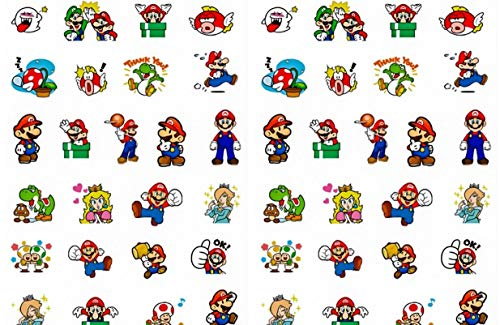 Super Mario Themed Peel and Stick Stickers Assorted Lot of - Sheet Sticker Nintendo
