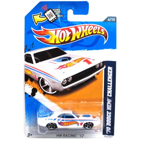Hot Wheels 2012 HW Racing 1970 Dodge Hemi Challenger White