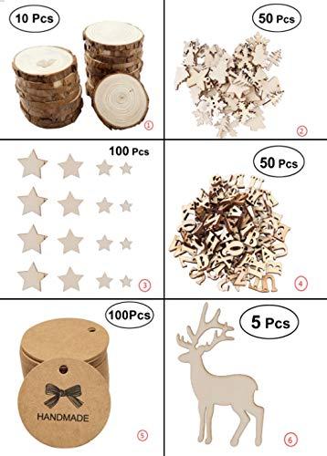 VORCOOL 10pcs Unfinished Natural Ronda Madera rebanadas c/írculos con Discos de Registro de Corteza de /árbol para DIY artesan/ía tama/ño 1