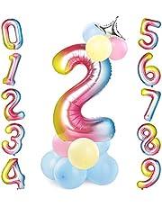 GeeRic 40 Inch Folie Ballonnen Nummer 2 Kleurrijk, Grote Helium Ballon Verjaardagsfeestje Decoraties Helium Folie Mylar Groot Nummer Ballon Digitaal met Ballonnen en Kroon