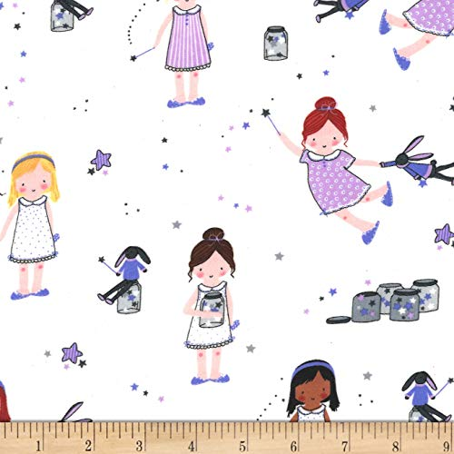 Michael Miller Fairies Flannel Sprinkle Sprinkle Little Stars Fabric, Twinkle, Fabric By The Yard