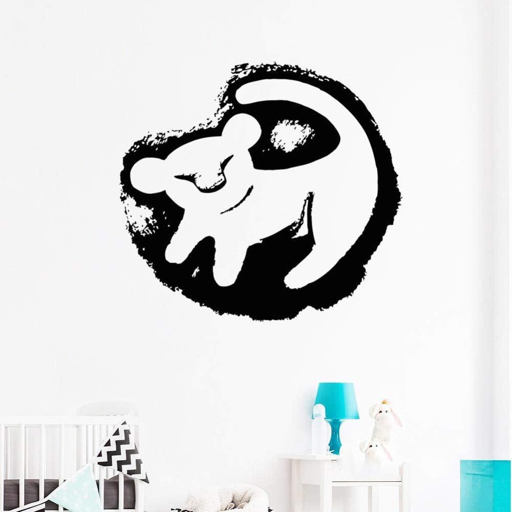 Sticker Mural Personnalis/é Nom Lion Roi Simba Stickers Muraux D/écor /À La Maison Enfants Chambre B/éb/é Nursery Stickers Bande Dessin/ée 32X42 Cm