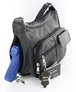 Black Leather Locking Concealment Purse - CCW Concealed Carry Gun Bag / Handbag