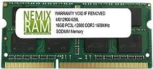 16GB (1x16GB) DDR3L-1600MHz PC3L-12800 2Rx8 SODIMM Laptop Memory