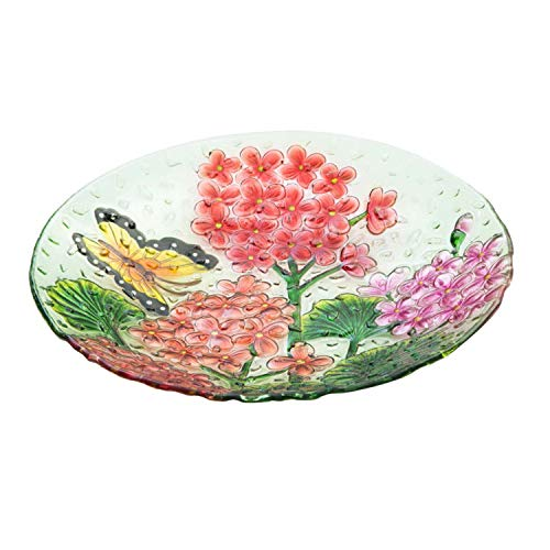 "Goose Creek 18""Decorative Birdbath Pebble Glass Bird Bath Bowl, Butterfly Floral"