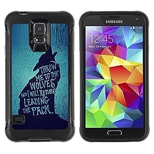 Suave TPU GEL Carcasa Funda Silicona Blando Estuche Caso de protección (para) Samsung Galaxy S5 V / CECELL Phone case / / wolf lead the pack brave heroic text /