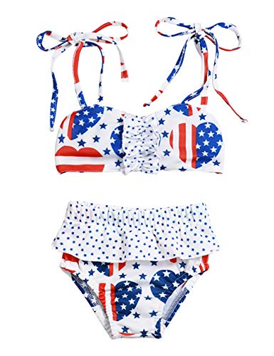 Independence Day Infant Baby Girl Outfits Summer Swimwear Bikini 4th of July Clothing Swimsuits Sets 12-18Months White-Blue