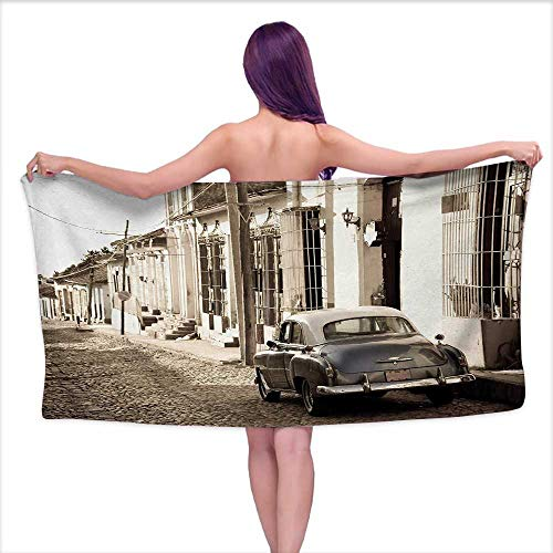Glifporia Baby Bath Towel Vintage Car,an Old American Car in The Colonial Streets of Trinidad in Cuba Historical Picture,Beige,W10 xL39 for Kids Mickey Mouse
