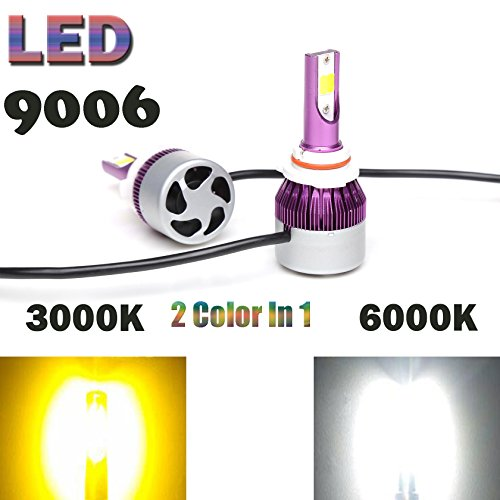 HB4 9012 9006 LED Headlight Bulbs Fog Lights Lamps Conversion Kit Dual Color (6000K/3000K) White/Yellow 9000LM - Plug and Play - 1 - Light Ab3