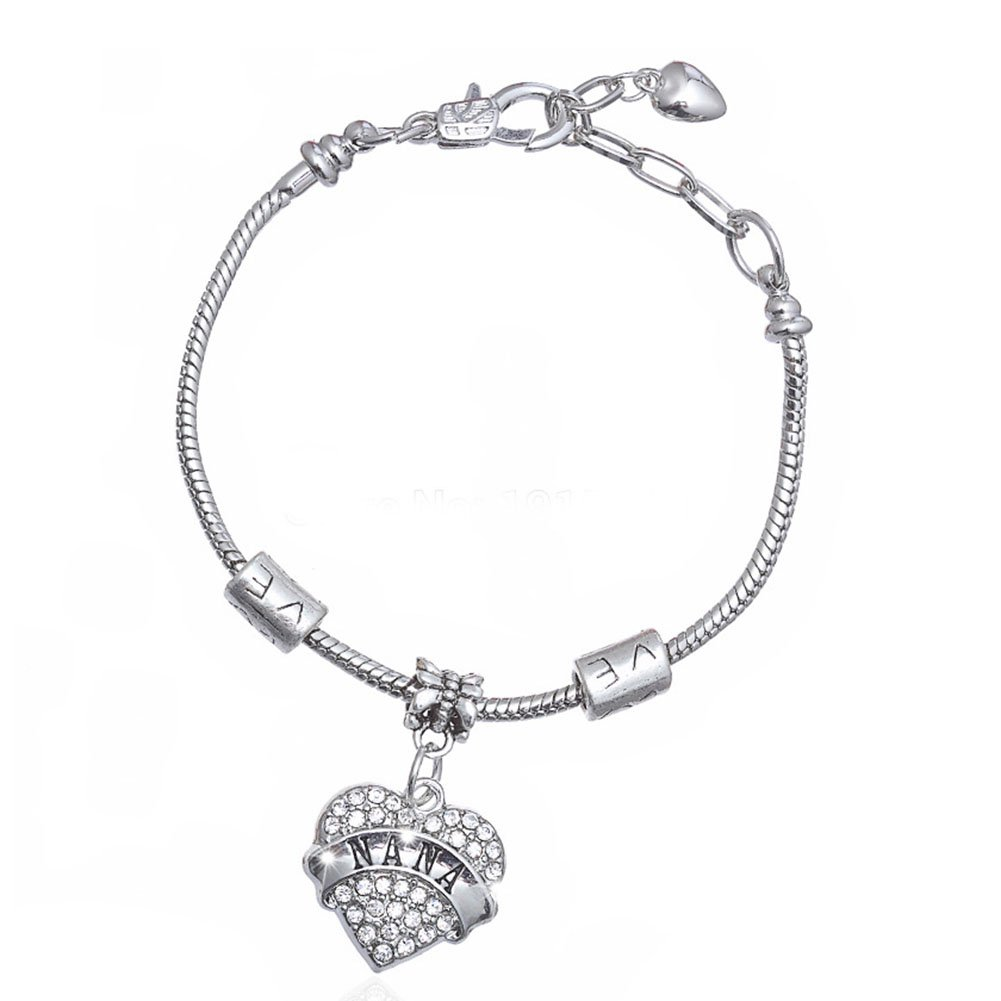 Love Dream Family Series Bracelet Grandma Engraved Pink Crystal Adorned Heart Charm Snake Bracelet