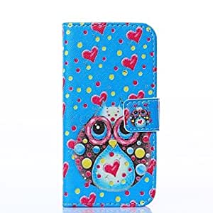 WEV Blue Setting Owl with Love Pattern PU Leather Full Body Case with Stand for iPhone 5/5S