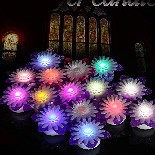 Youngerbaby Flowers Led Candles Color Changing Flameless Tea Lights with Purple Floral Decor for Wedding Decoration Dinning Table Centerpieces Garden Party Electric Plastic Flower - Pack of 15