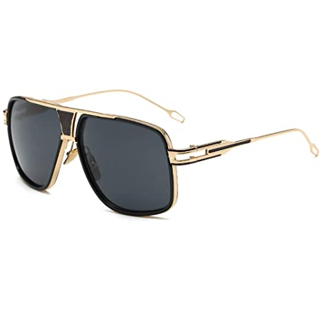 91b19cf0c1 Oversized Retro Aviator Sunglasses Gold Metal Square Frame for Men Women  Black Lens  Amazon.ca  Luggage   Bags