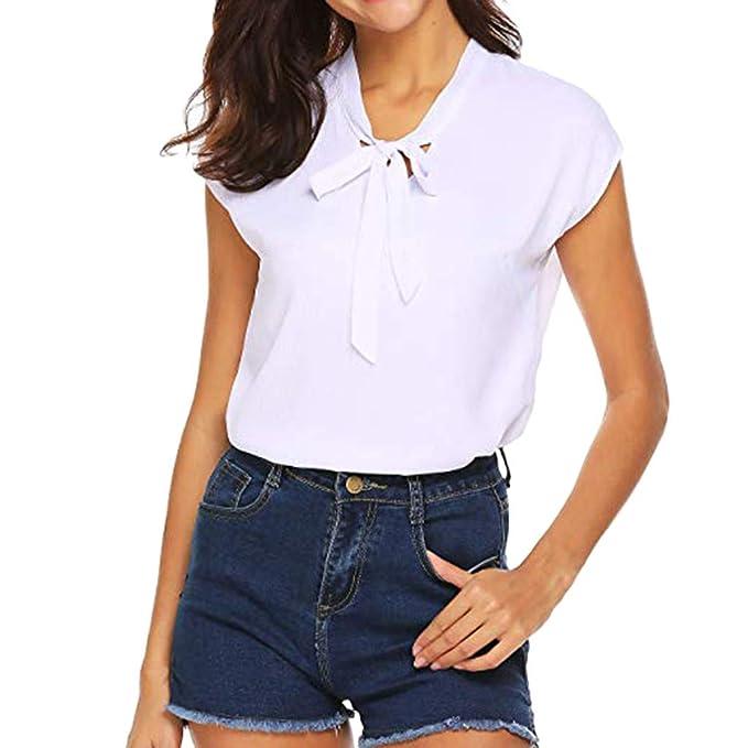 Vectry Camiseta Blanca Mujer Manga Corta Blusas de Mujer ...