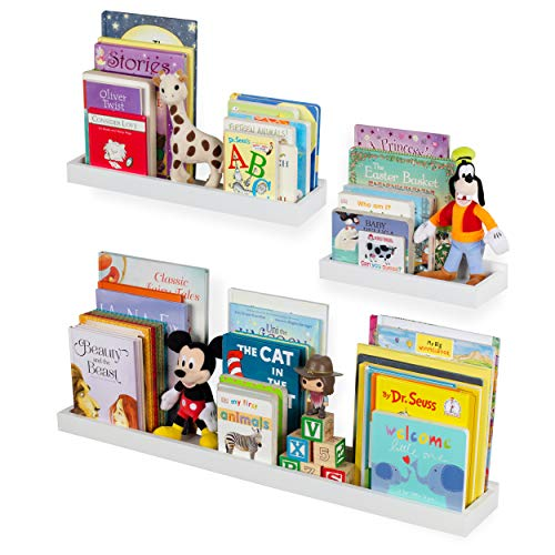 Kids Room Shelving - Wallniture Philly 3 Varying Sizes Floating Shelves Trays Bookshelves and Display Bookcase - Wood Shelving for Kids Room and Nursery - Wall Mounted Storage Bathroom Shelf, White
