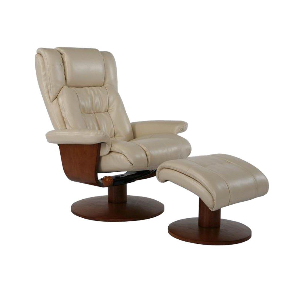NEOWISER Liegestuhl Entspannung Sessel Leder mit Fußhocker Grau