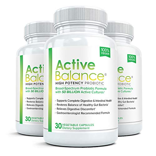 Active Balance: Maximum Strength Acidophilus Probiotic and Prebiotic for Women & Men with 50 Billion CFUs | Shelf Stable, Vegan Friendly for Optimal Gut and Digestive Health, 3 Bottles, 30 ()