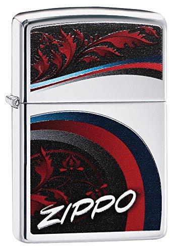 Zippo Logo Curve Pocket Lighter, High Polish Chrome
