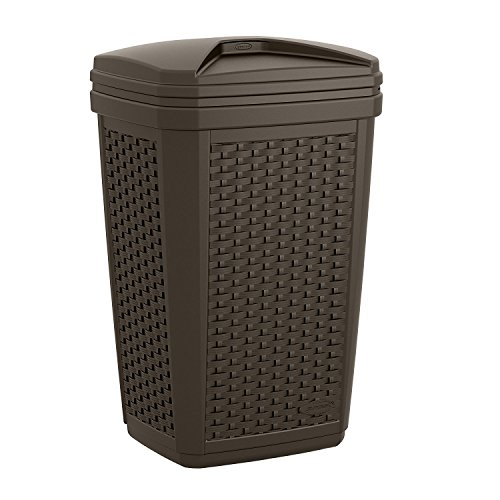 Suncast Trash Hideaway - Outdoor Trash Can for Deck or Patio with Lid - Contemporary Resin Wicker Design Holds up to 30 Gallons - Java