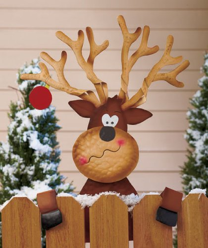 cute whimsical fence topper metal reindeer deck rail holiday decoration - Metal Reindeer Christmas Decorations