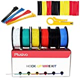 Drone Repair Parts - 30GA Hook up Wire Kit - 30AWG Silicone Wire - 300V Tinned Stranded Electrical Wire of 6 Different Colors x 66 ft each - Black, Red, Yellow, Green, Blue, White - Wire Assortment Kit from Plusivo