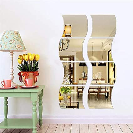 6pcs BUY Removable Home Room Wall Mirror Sticker Art Vinyl Mural Decor Decal  BU