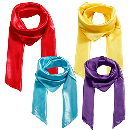 4 Pcs Silk Like Scarf Womens Large Square Stain Neck Head Scarf Hair Scarf Set 35×35 inches (Mixed Color A)