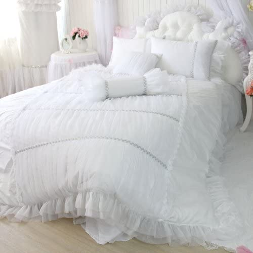 4 pcs Bedding Sheet set  FITS American Girl Doll Bed White with Lace