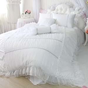 Sisbay Fancy Girls Bedding Set White,Luxury Princess Ruffle Duvet Cover,Lace Korean Wedding Bed Skirt,Queen Size,4pcs
