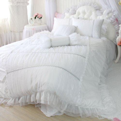 Sisbay Fancy Girls Bedding Set White Luxury Princess Ruffle Duvet Cover Lace Korean Wedding Bed Skirt King Size 4Pcs
