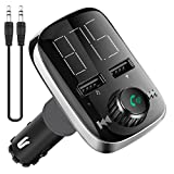 Bluetooth FM Transmitter, BTNOW Car Charger with FM Transmitter and Bluetooth Receiver, Hand-Free Calling, 2 USB Ports, Music Player Supporusic Player Support TF Card USB Flash Drive AUX Input/Output