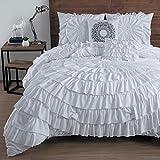 Comforter Sets Premium King Size Set in 5 Piece Adult Luxury White Elegant Design