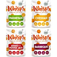 Whisps Cheese Crisps Assortment | Keto Snack, No Gluten, No Sugar, Low Carb, High Protein | Asiago, Parmesan, Cheddar and Bacon | 2.12 oz (4 Pack)