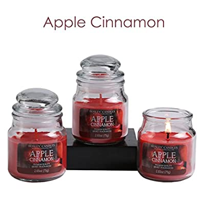 Hosley Set of 3 Apple Cinnamon Highly Scented, 2.65 Oz Wax, Jar Candle. Ideal Votive GIFT for party favor, weddings, Spa, Reiki, Meditation, Bathroom settings