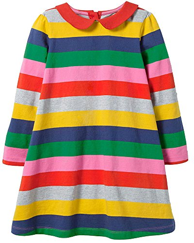 Bumeex Baby Girls Cute Cotton Long Sleeve Tunic Dresses Multi Stripe -
